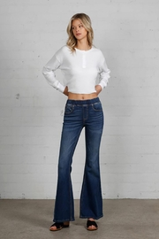 Nadya's Closet Wide Elastic Banded Flare Jeans - Back cropped