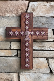 Nadya's Closet Wooden Cross With Cancer Awareness Broch - Product Mini Image