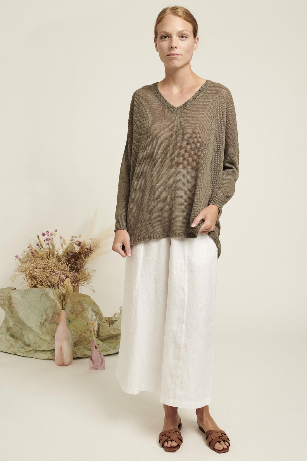 Naif Montreal Relaxed Linen Sweater - Front Full Image