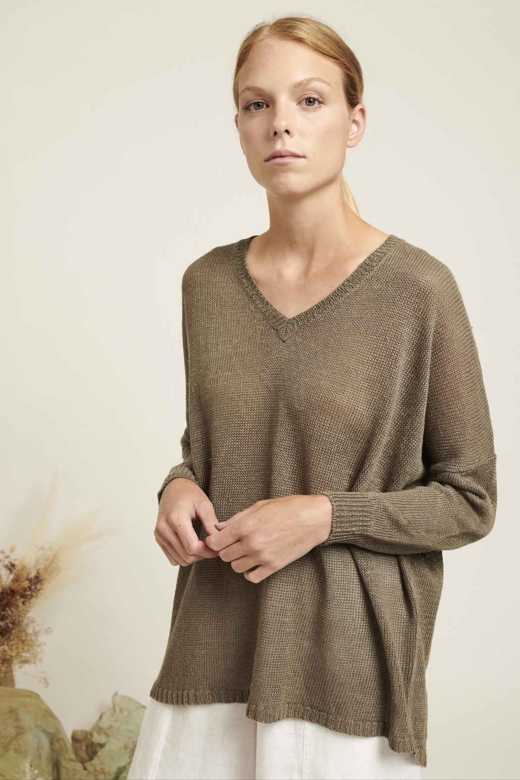 Naif Montreal Relaxed Linen Sweater - Main Image