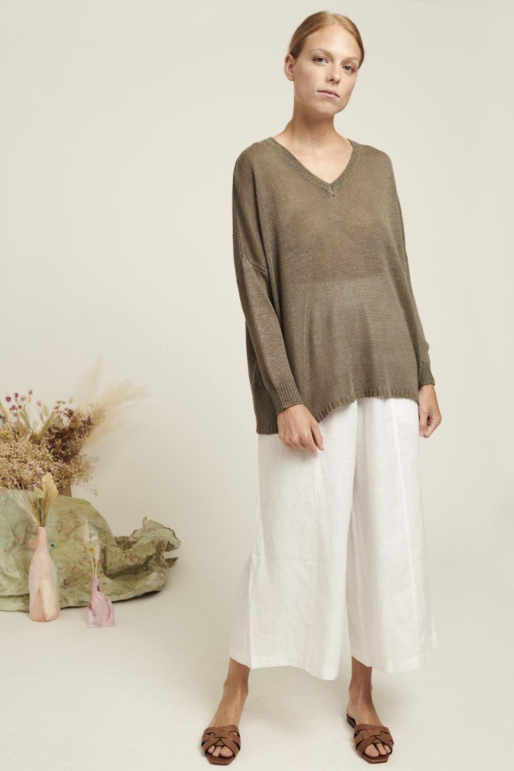 Naif Montreal Relaxed Linen Sweater - Back Cropped Image