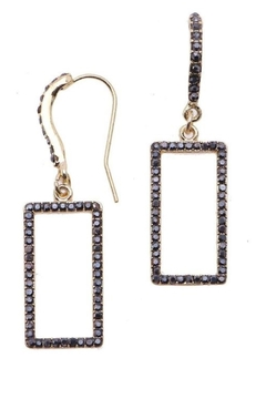 Shoptiques Product: Rectangle Rhinestone Gold Earrings