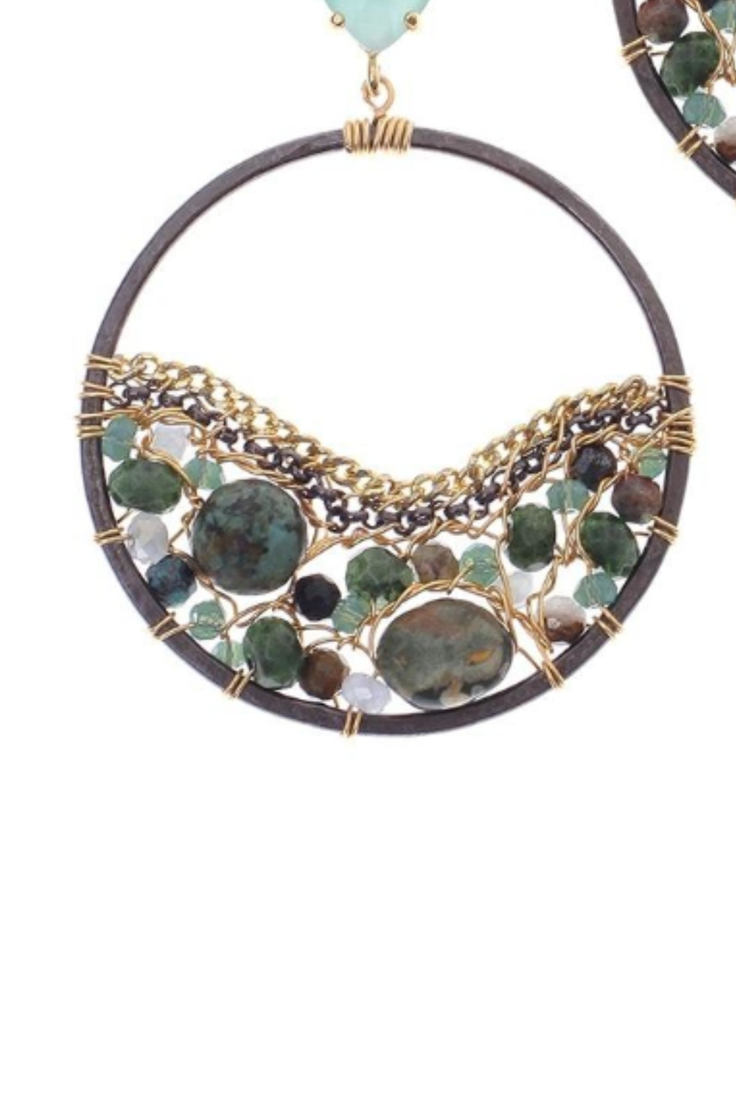 NAKAMOL CHICAGO Circling Emerald Earrings - Front Full Image