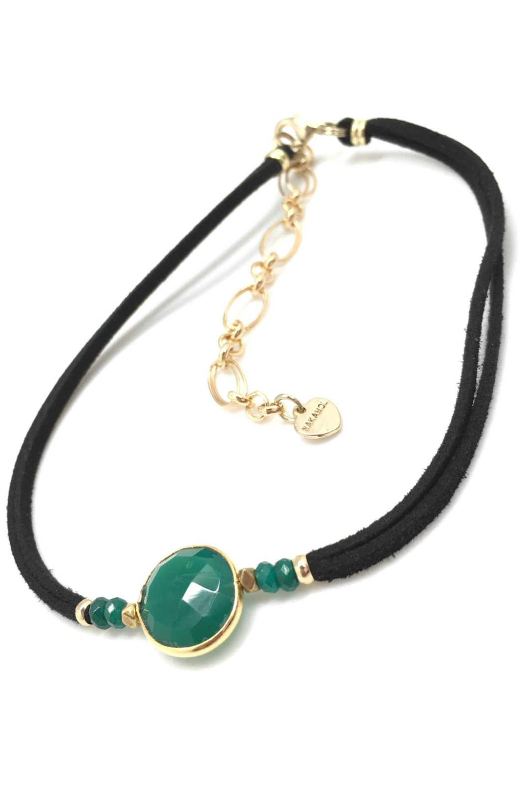 NAKAMOL CHICAGO Emerald Semiprecious Suede Choker - Front Cropped Image