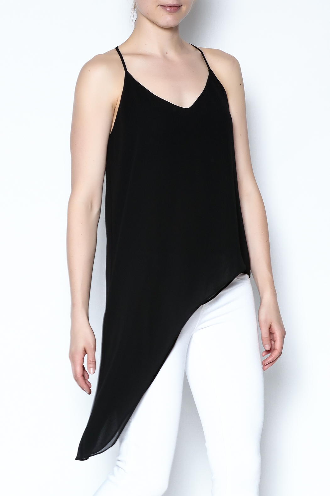 Naked Zebra Asymmetric Black Tank - Main Image