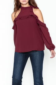 Naked Zebra Ruffled Cold Shoulder Top - Front cropped