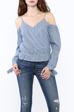 Shoptiques Product: Stripe Cold Shoulder Top
