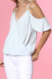Naked Zebra Cold Shoulder Crossover Top - Back cropped