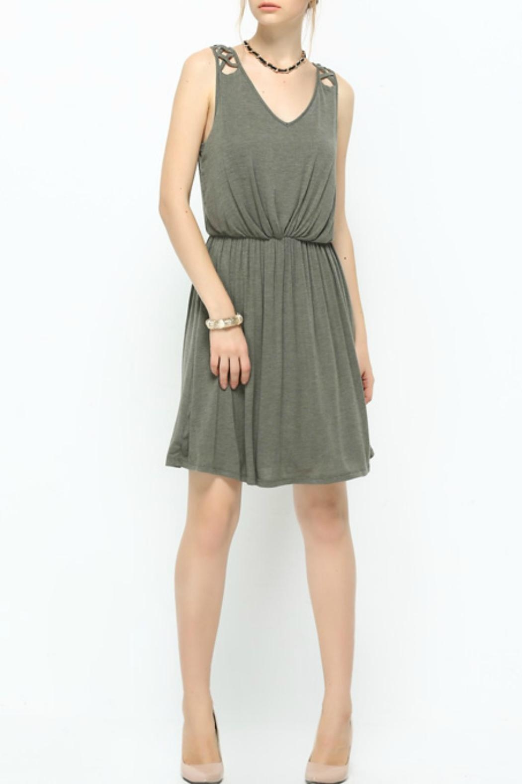Naked Zebra Olive Latice-Trim Dress - Main Image
