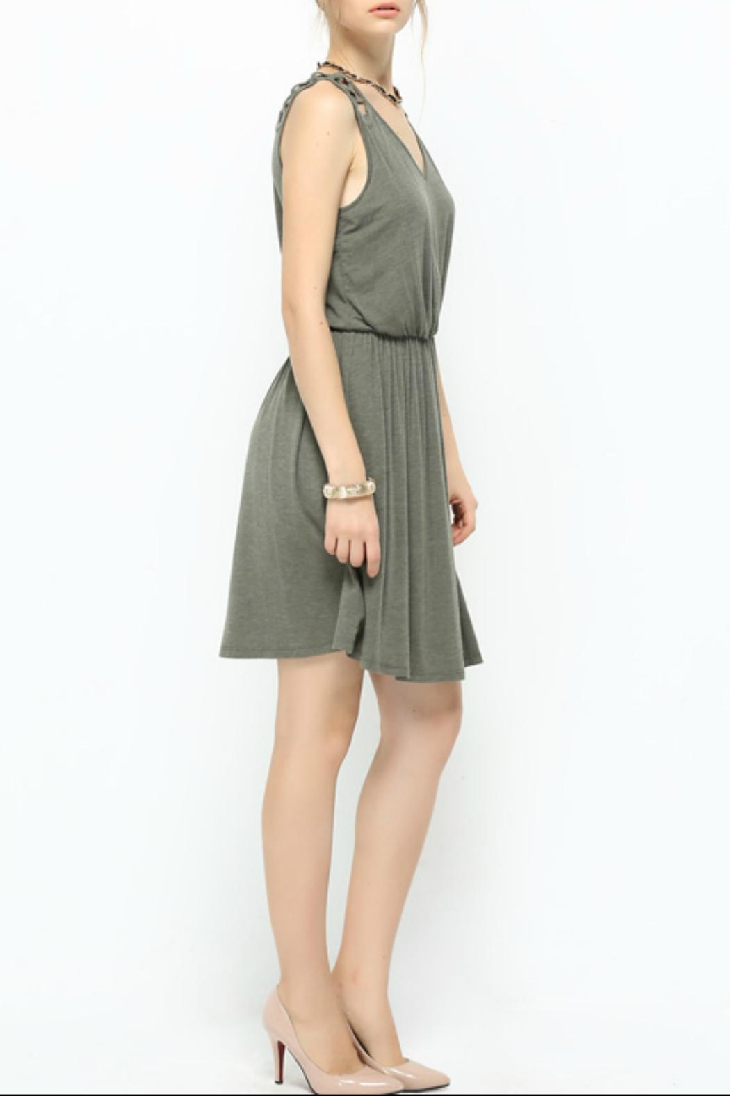 Naked Zebra Olive Latice-Trim Dress - Front Full Image