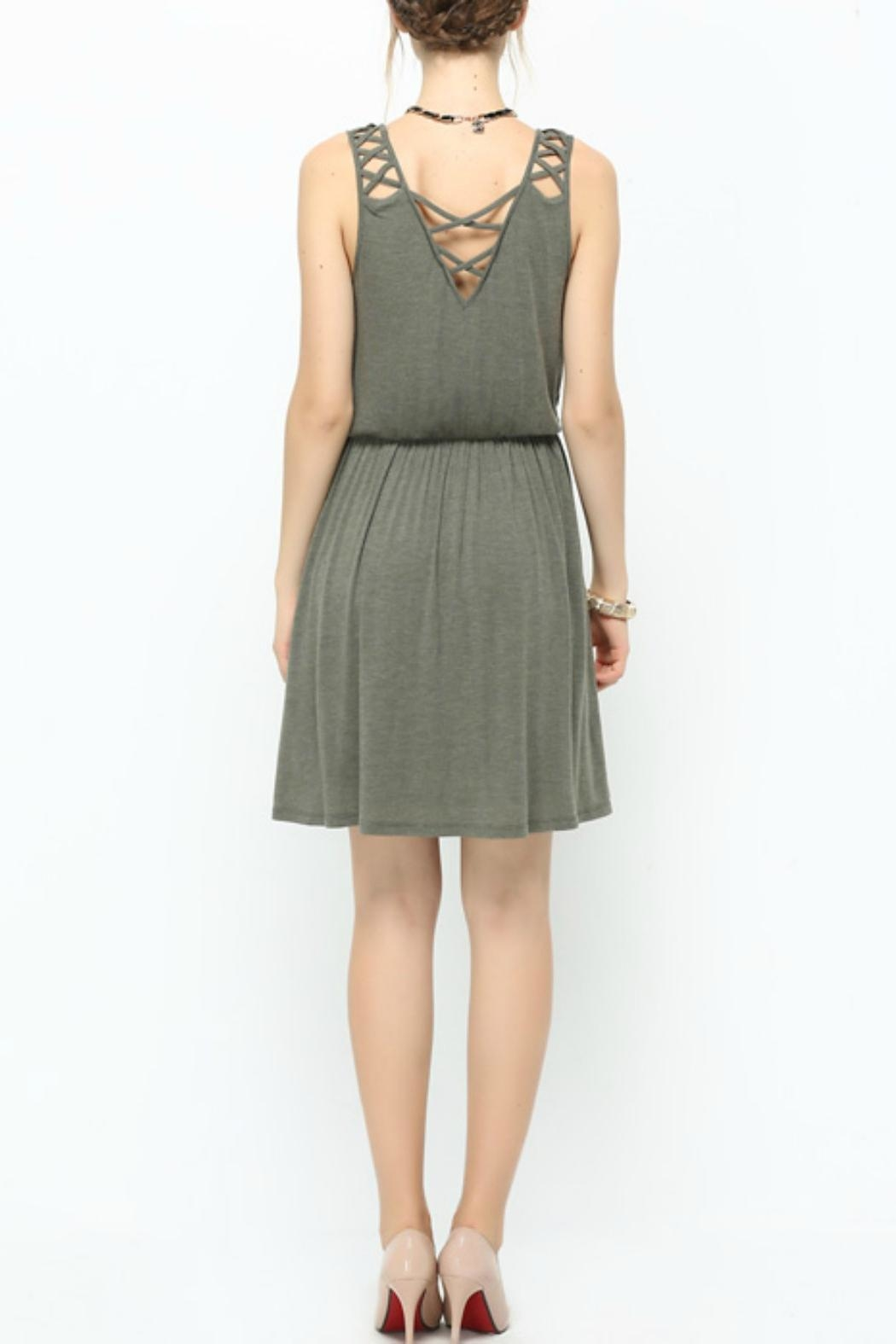 Naked Zebra Olive Latice-Trim Dress - Side Cropped Image