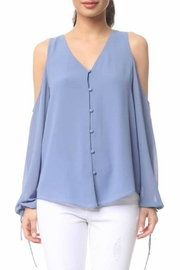Naked Zebra Periwinkle Cold Shoulder Top - Product Mini Image