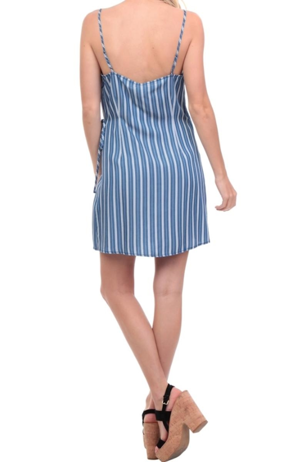 Naked Zebra Stripe Wrap Dress - Side Cropped Image