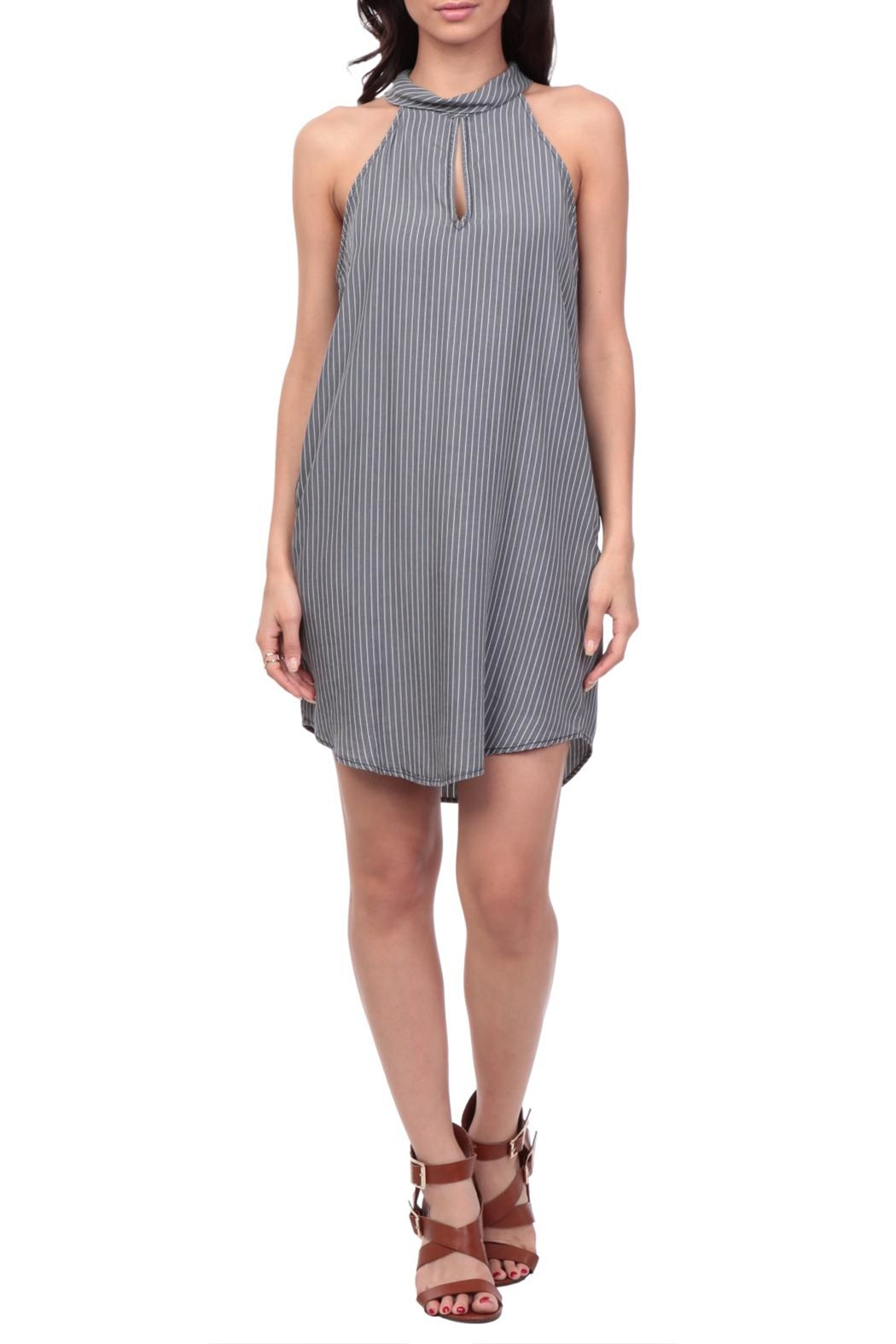 Naked Zebra Striped Keyhole Dress - Main Image