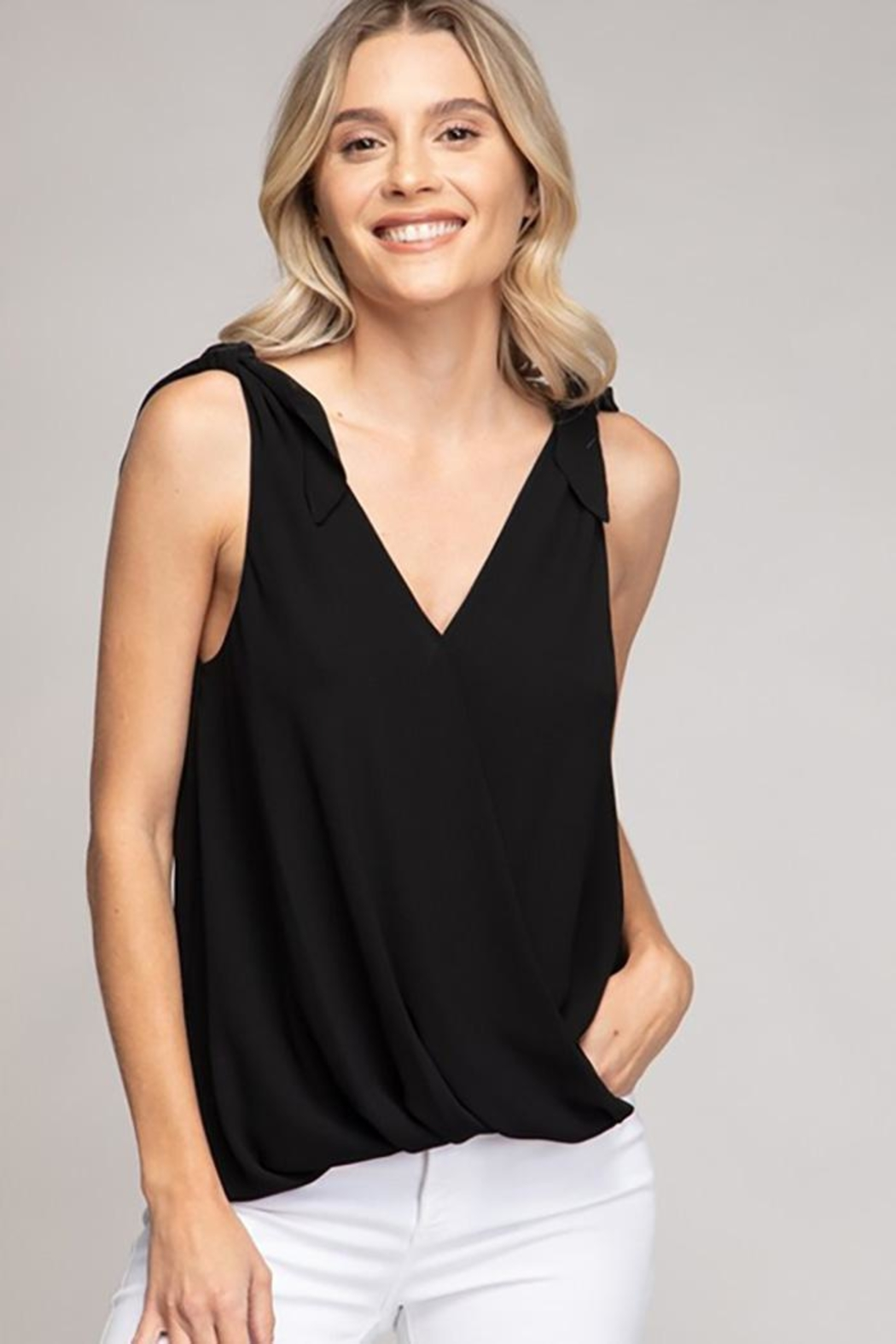 Naked Zebra Tie Shoulder Surplice Top - Main Image