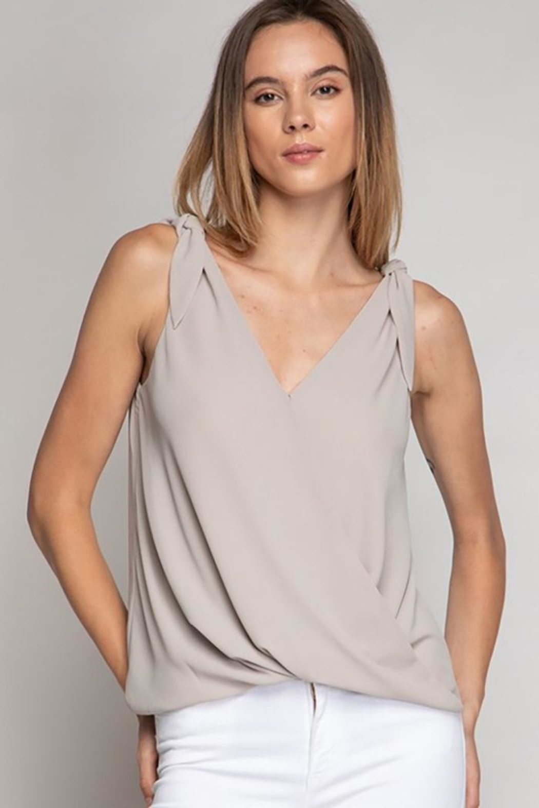 Naked Zebra Tie Shoulder Surplice Top - Front Cropped Image
