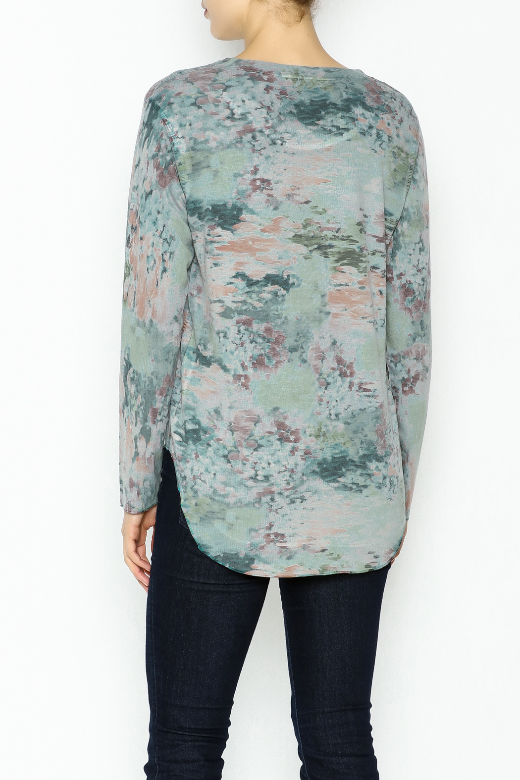 Nally & Millie Monet Print Jersey Top - Back Cropped Image