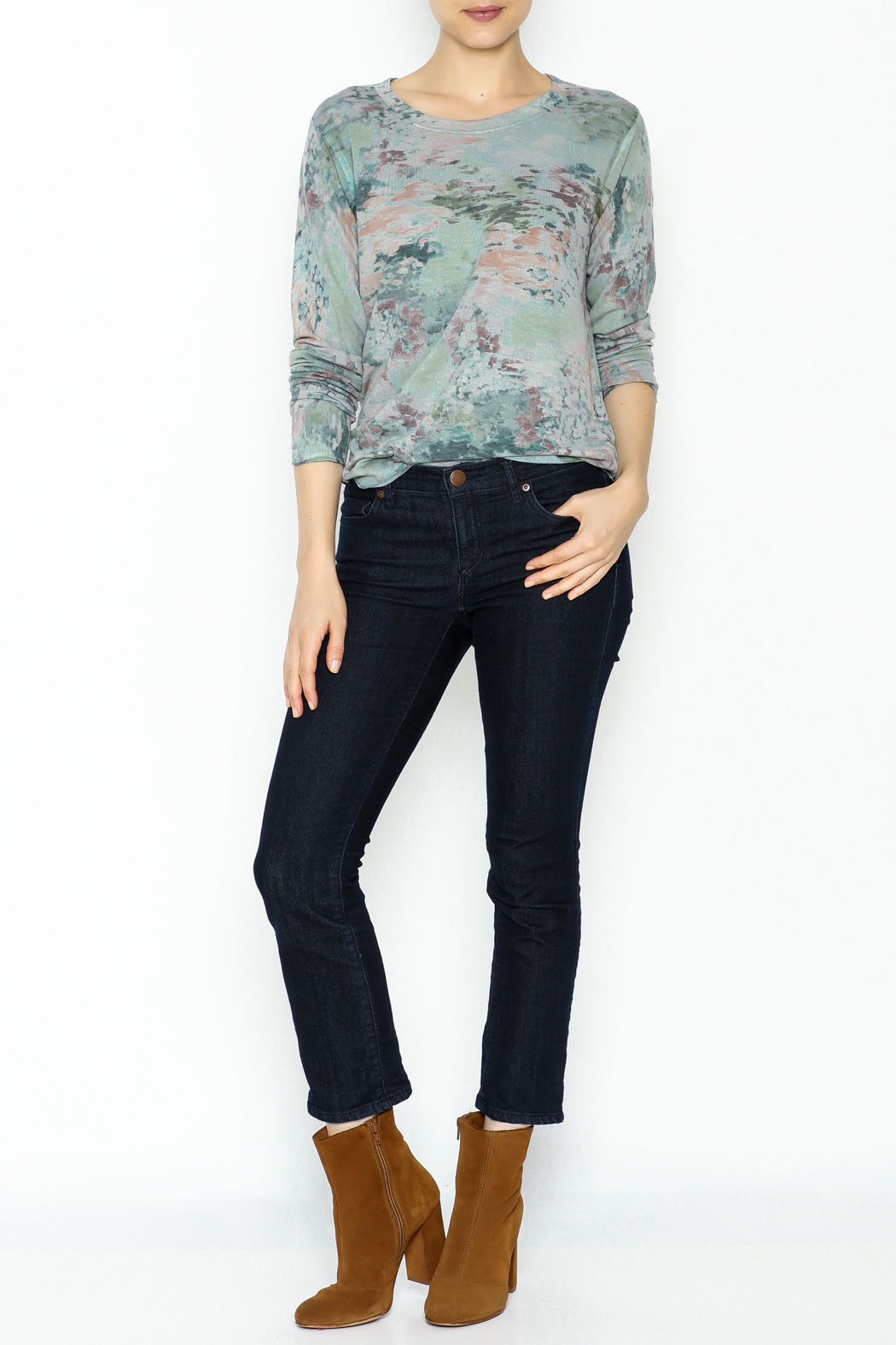 Nally & Millie Monet Print Jersey Top - Side Cropped Image