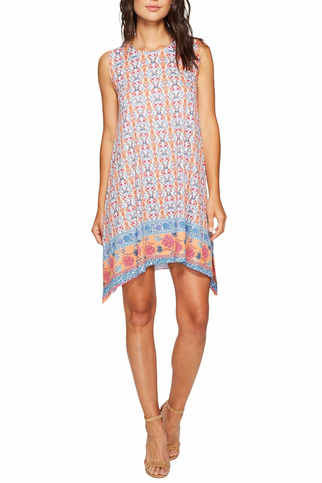 Nally & Millie Border Print Dress - Front Cropped Image