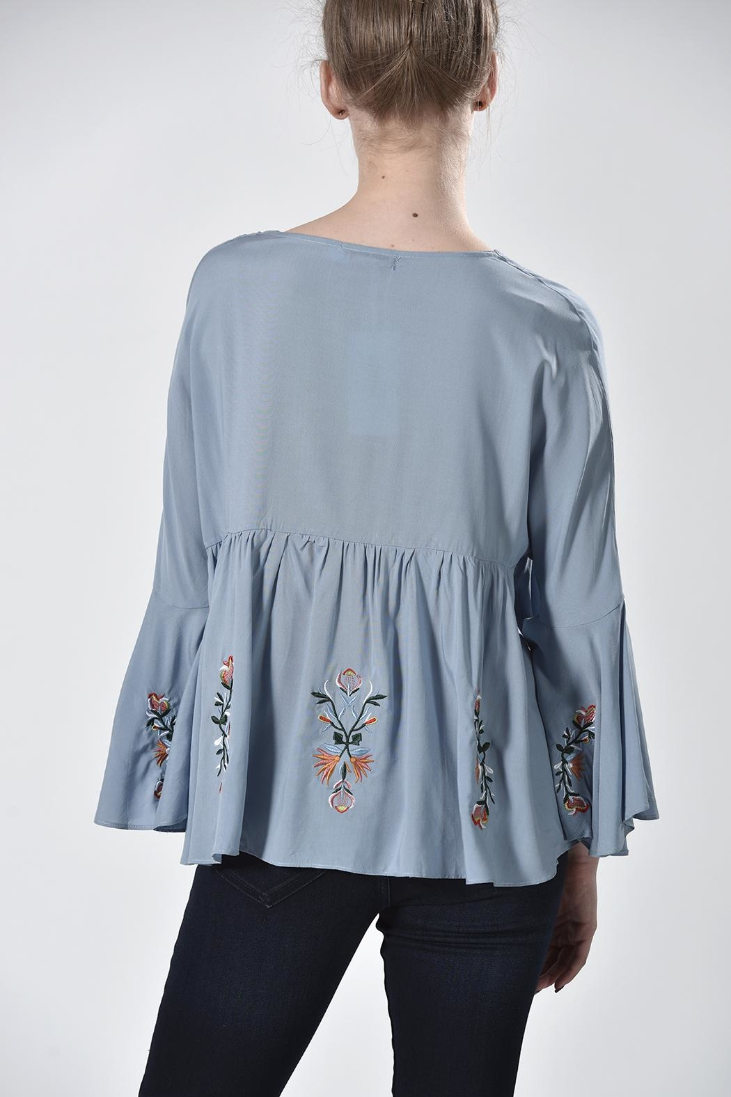 Nana Blue Embroidered Top - Side Cropped Image