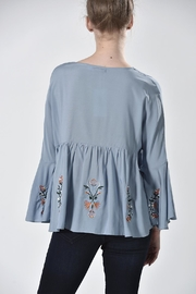 Nana Blue Embroidered Top - Side cropped