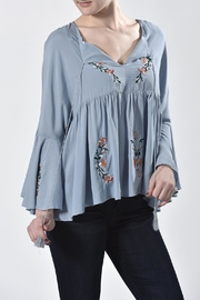 Nana Blue Embroidered Top - Front cropped