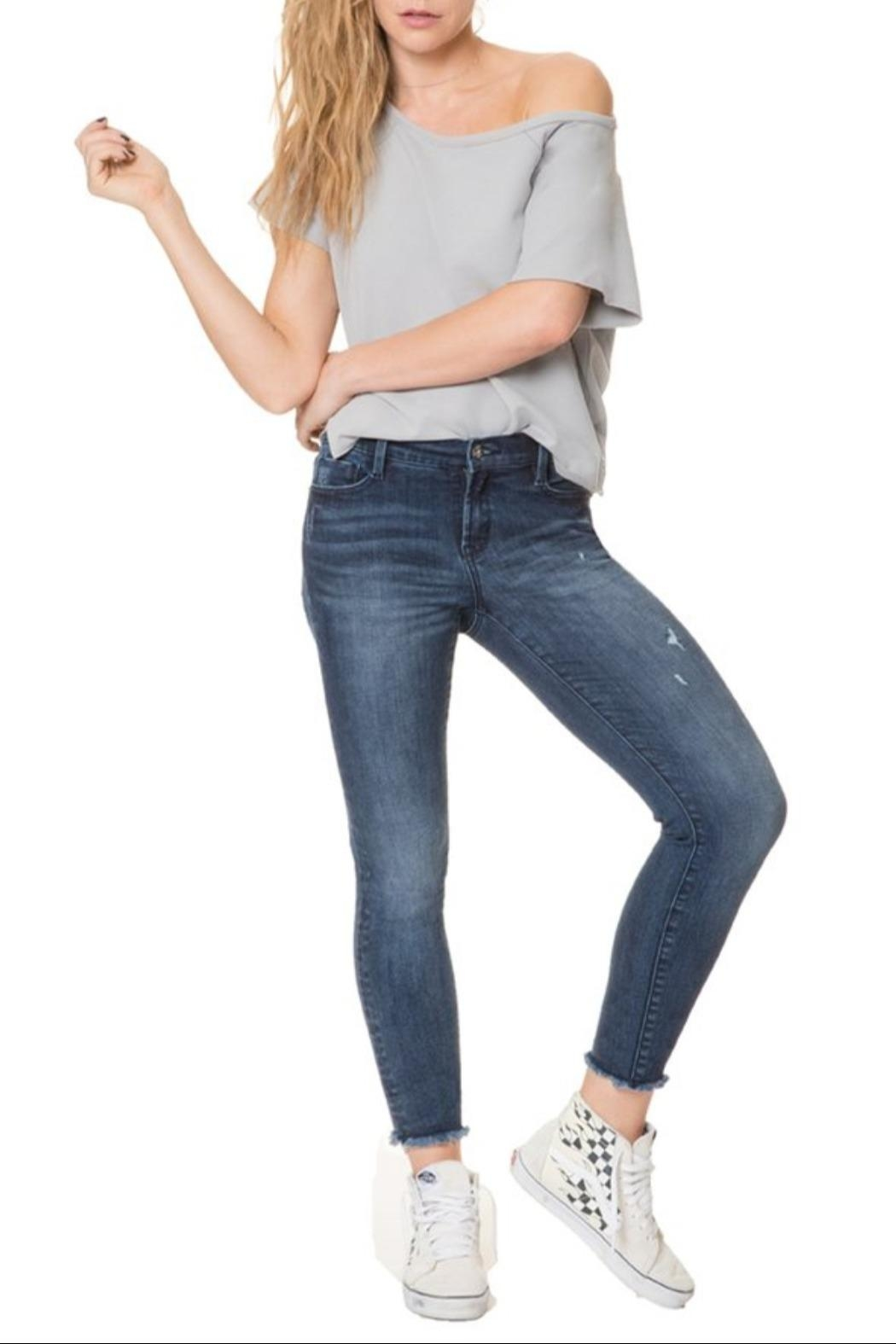 Nancy Rose Frayed Cropped Jeans - Front Full Image