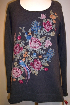 Johnny Was Collection Nanette Cross-Stitched Sweatshirt - Product List Image