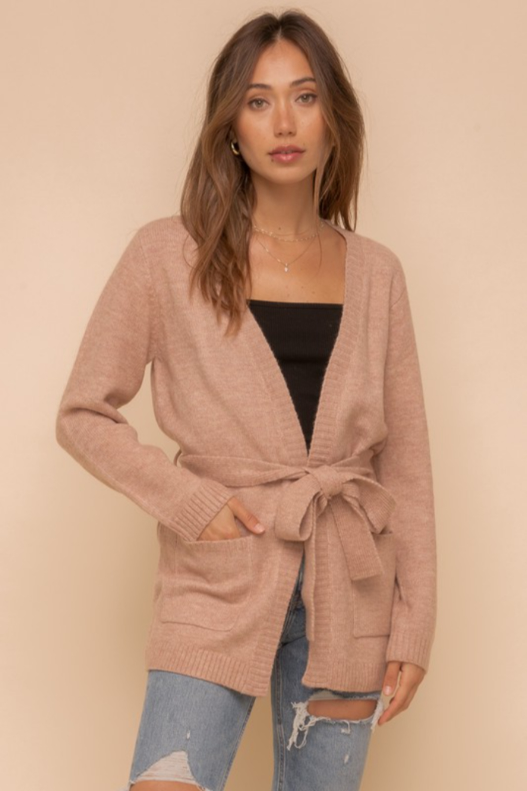 Hem and Thread Nantucket Belted Open Cardigan - Main Image