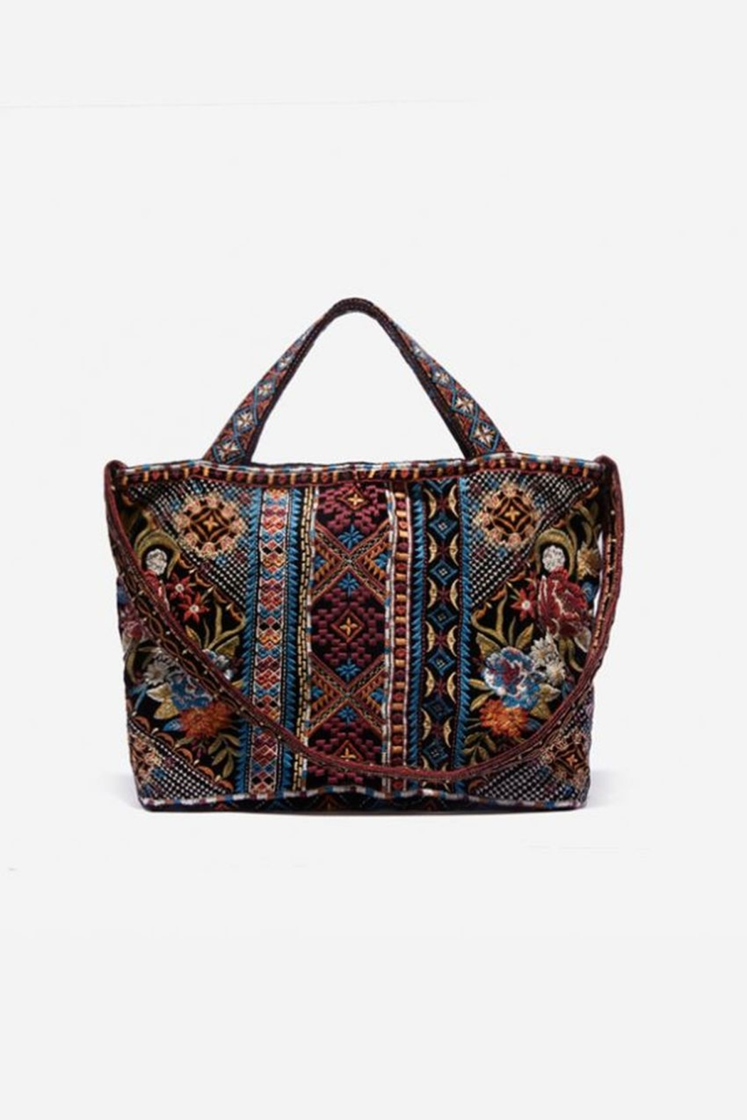 Johnny Was Naomi Embroidered Velvet Tote Bag - Front Full Image