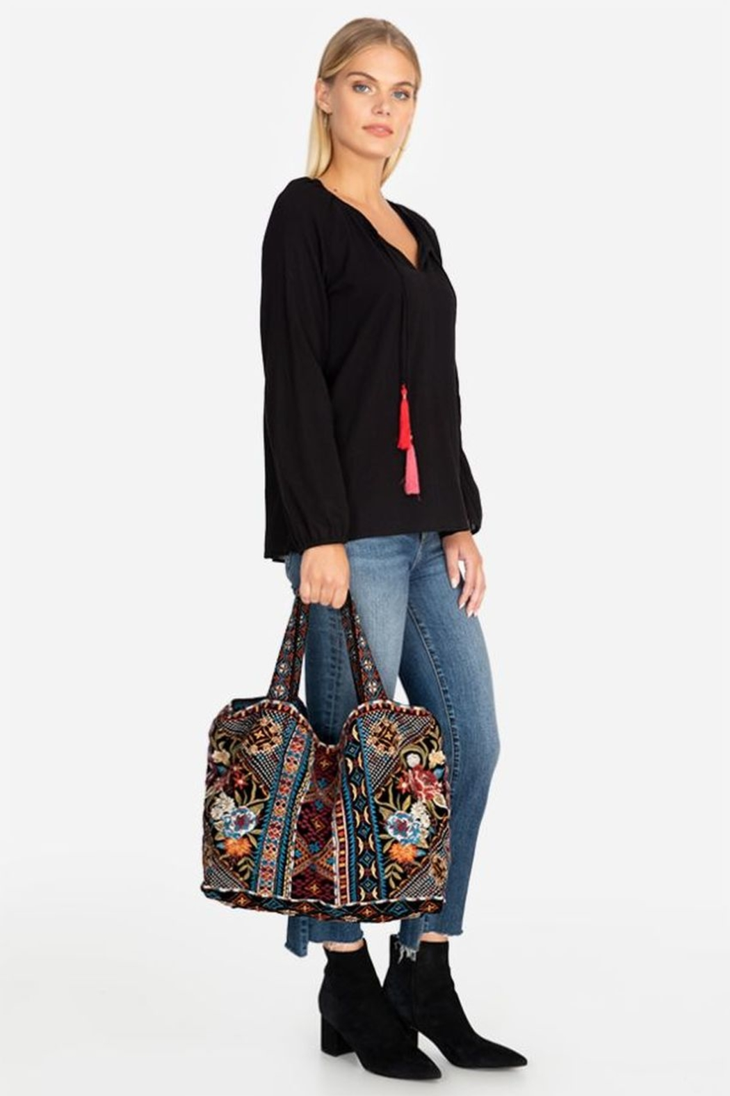 Johnny Was Naomi Embroidered Velvet Tote Bag - Main Image