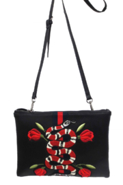 Sondra Roberts Nappa PU with Snake Embellishment Webbing Detail - Product Mini Image