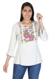 Parsley and Sage Natalie Embroidered Peasant Top - Product Mini Image