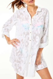 Lilly Pulitzer  Natalie Shirtdress Coverup - Front cropped