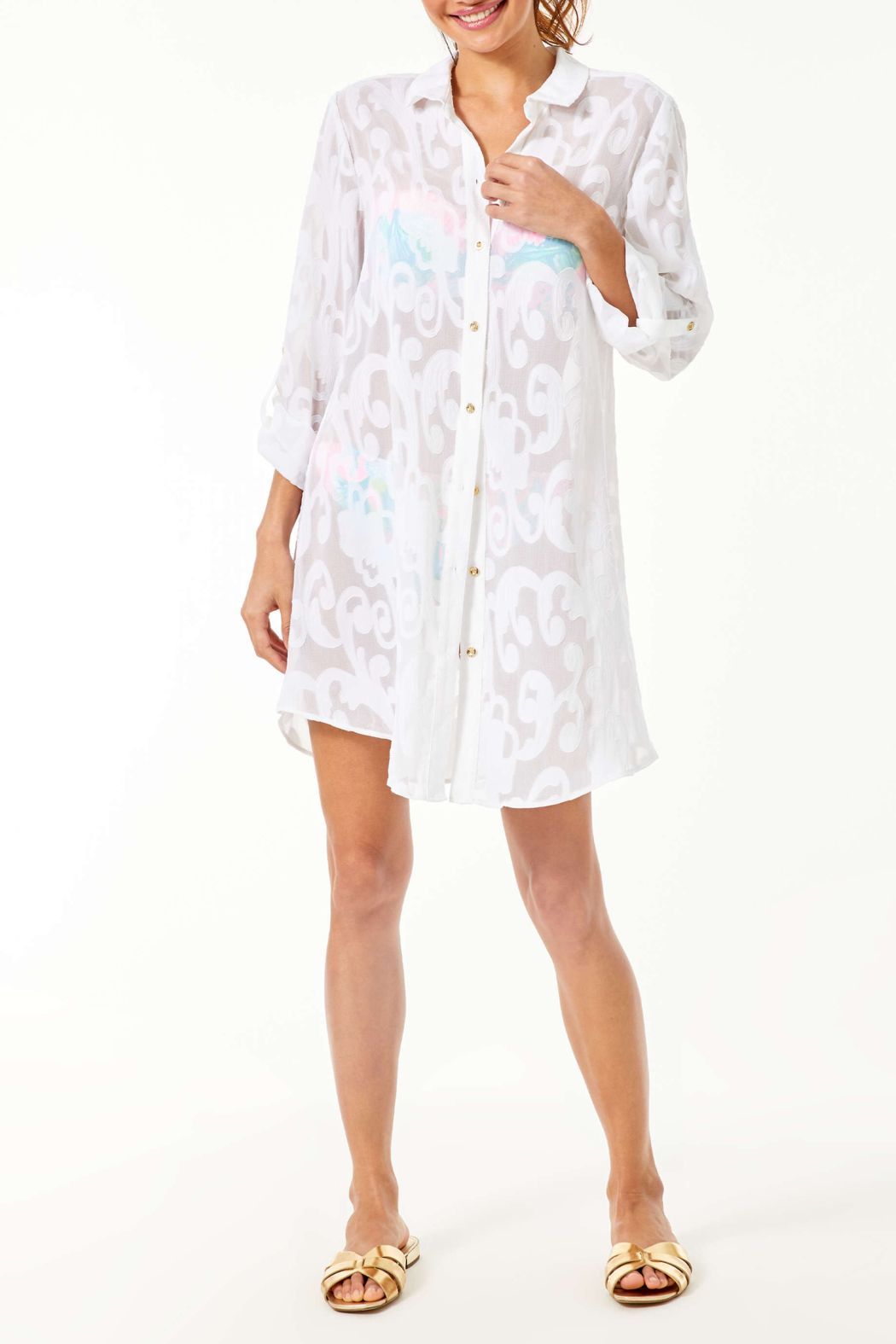 Lilly Pulitzer  Natalie Shirtdress Coverup - Side Cropped Image