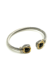 Natasha Couture Fashion Black Stone Cable Bracelet - Product Mini Image