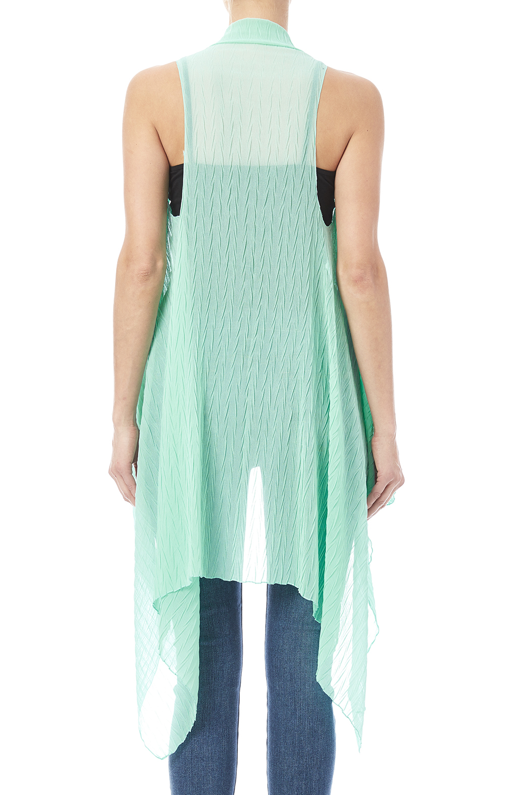 couture fashion rippled mint green vest from