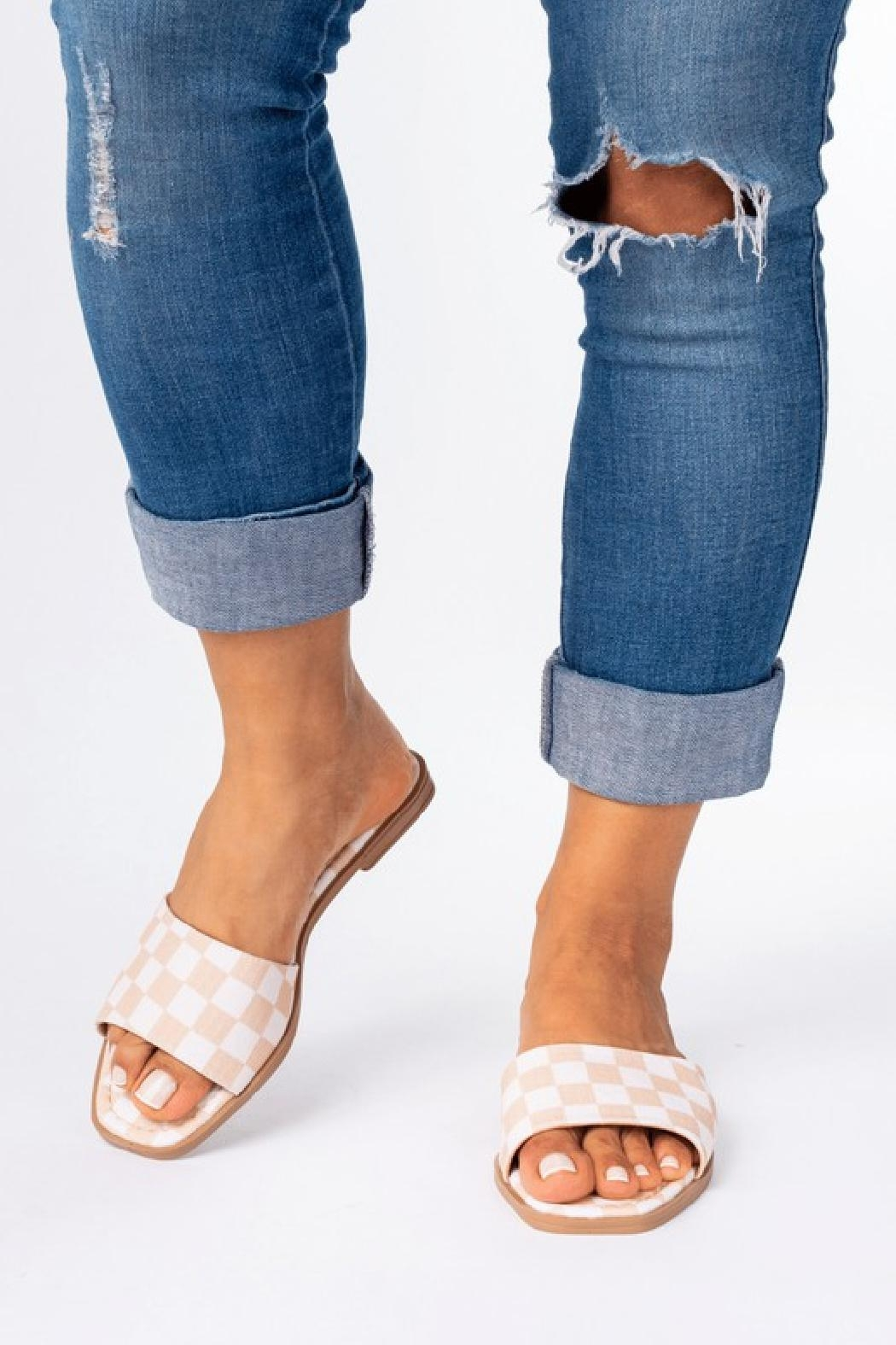 Natasha Couture Fashion Kendall Checkered Sandals - Front Cropped Image