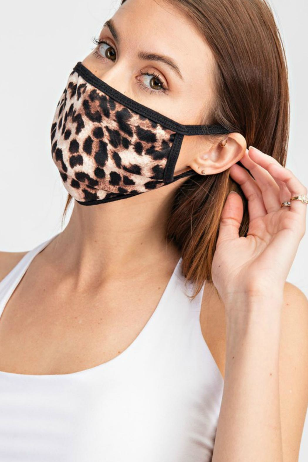 Natasha Couture Fashion Leopard Print Face-Mask - Front Full Image