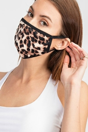 Natasha Couture Fashion Leopard Print Face-Mask - Front full body