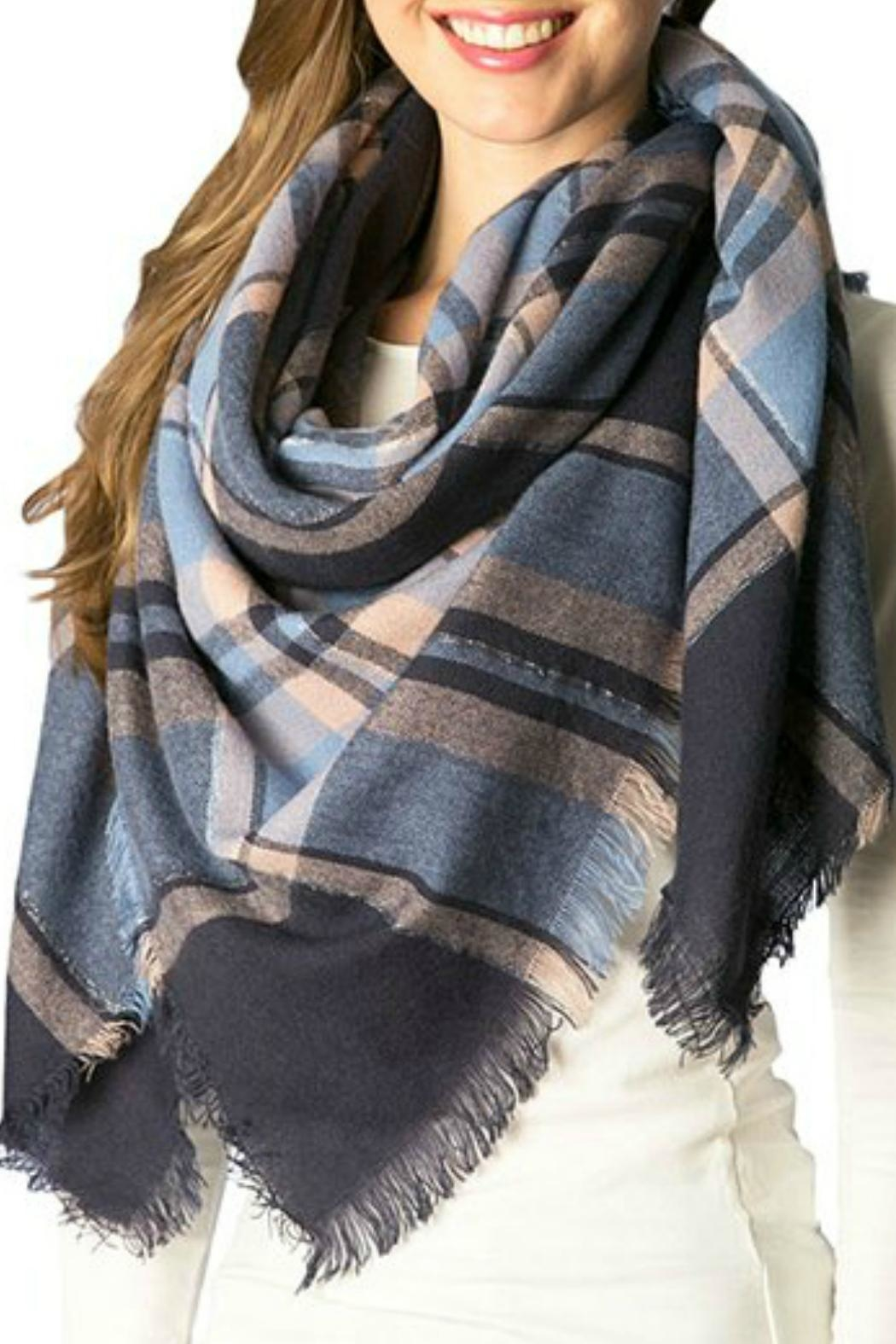 Natasha Couture Fashion Plaid Blanket Scarf - Main Image