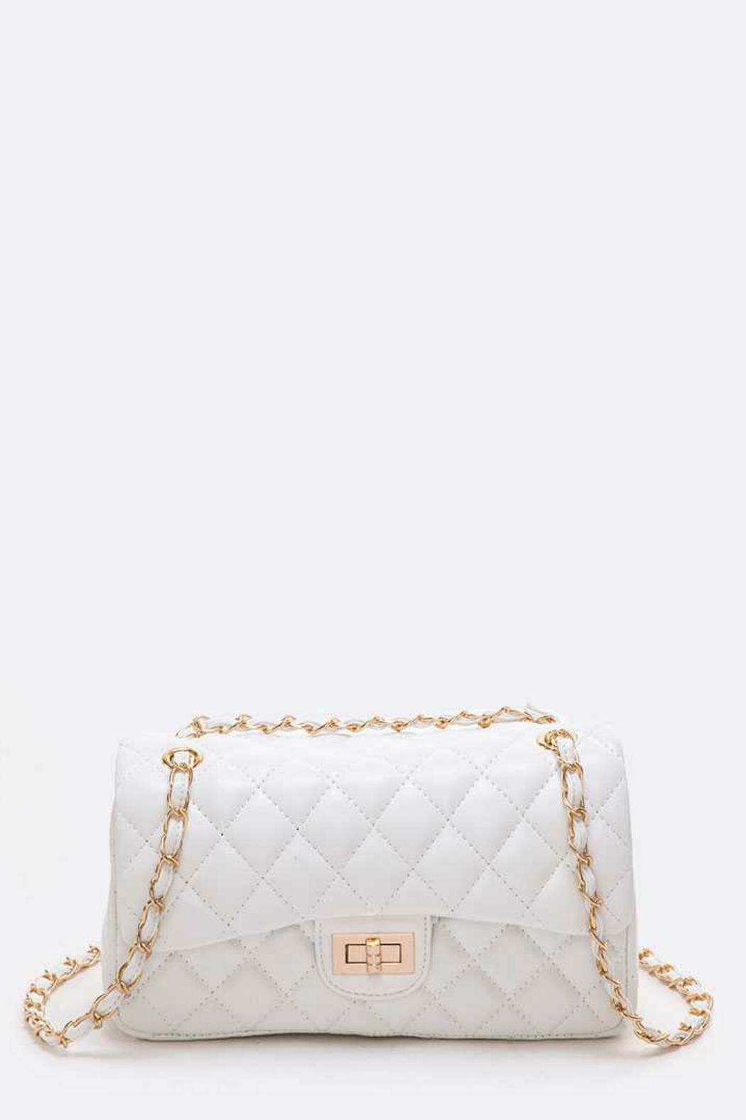 Natasha Couture Fashion Quilted Shoulder Bag - Front Cropped Image