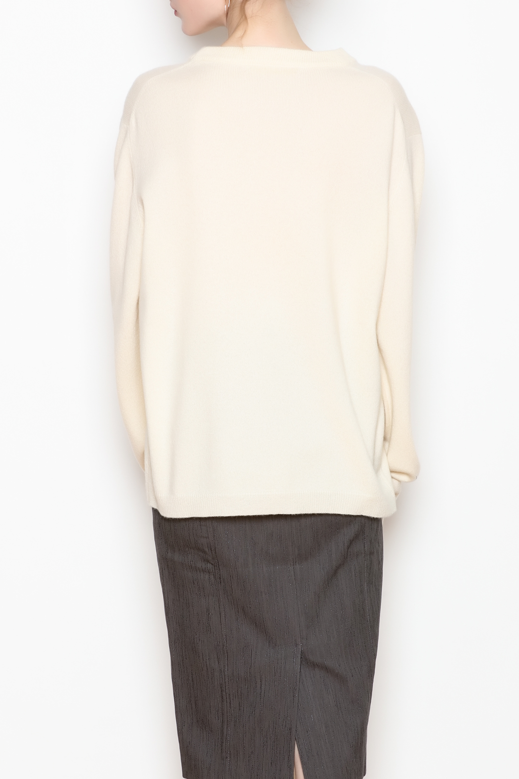 National Cashmere Roundneck Cashmere Sweater - Back Cropped Image