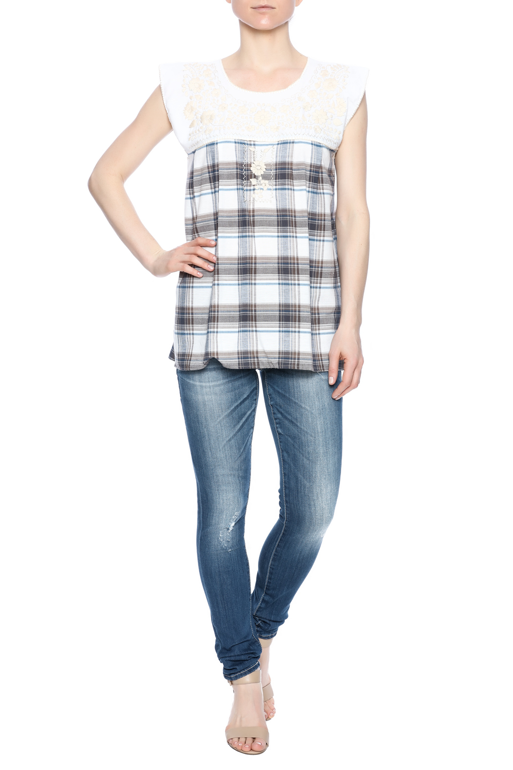 Nativa Embroidered Plaid Blouse - Front Full Image