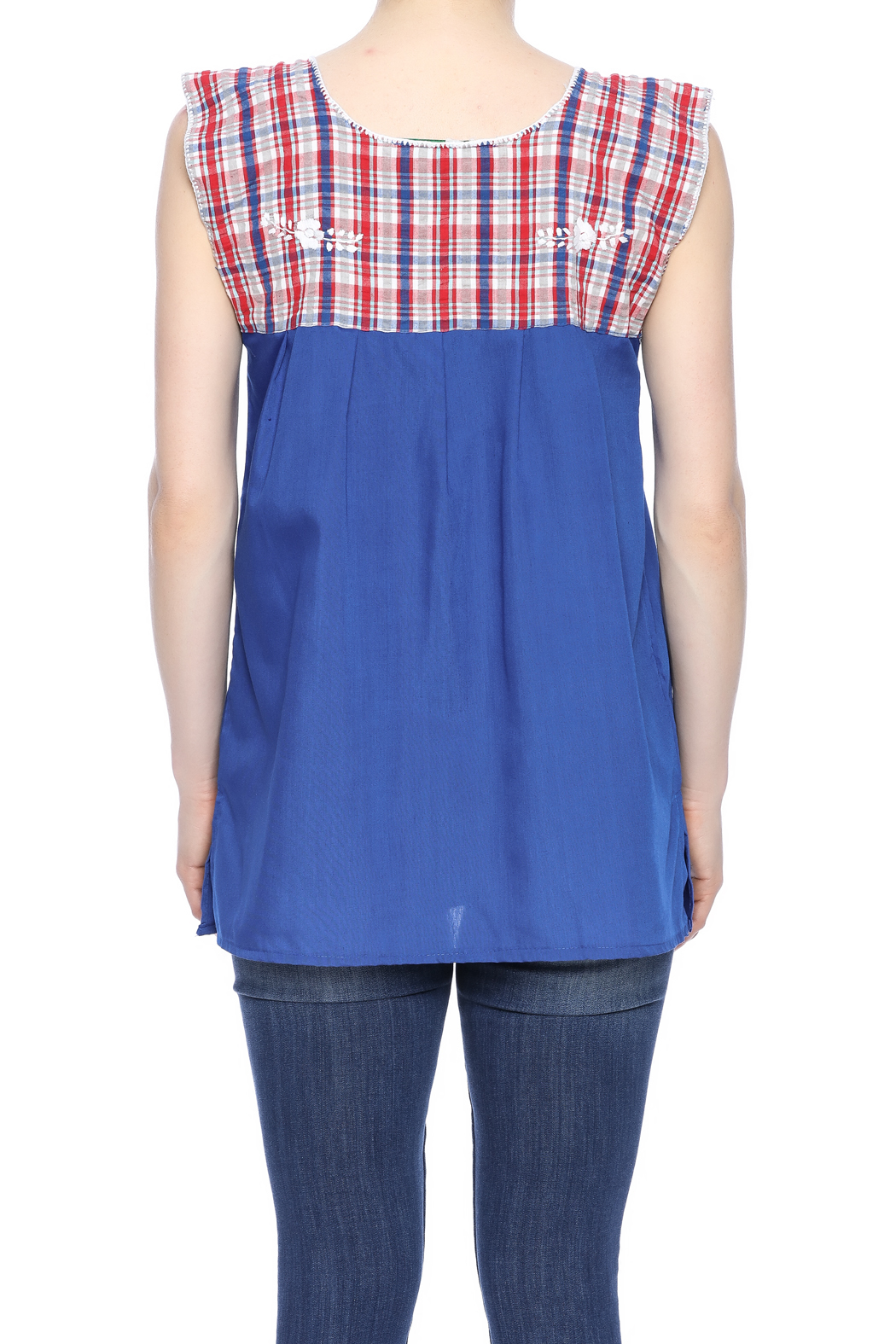 Nativa Embroidered Plaid Blouse - Back Cropped Image