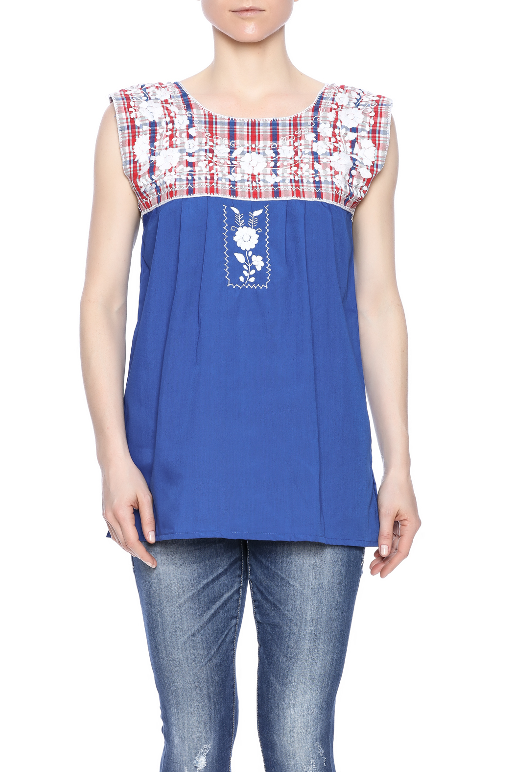 Nativa Embroidered Plaid Blouse - Front Cropped Image