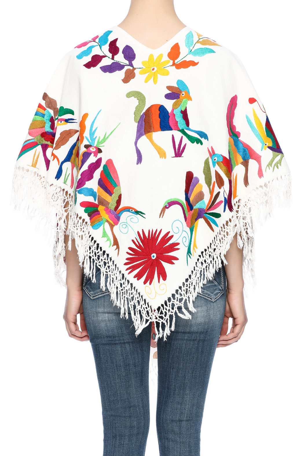 Nativa Mexican Embroidered Poncho - Back Cropped Image