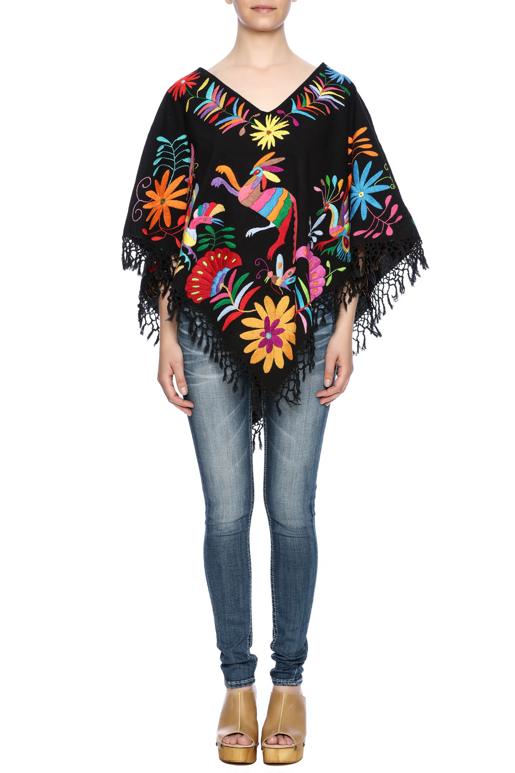 Nativa Mexican Embroidered Poncho - Front Full Image
