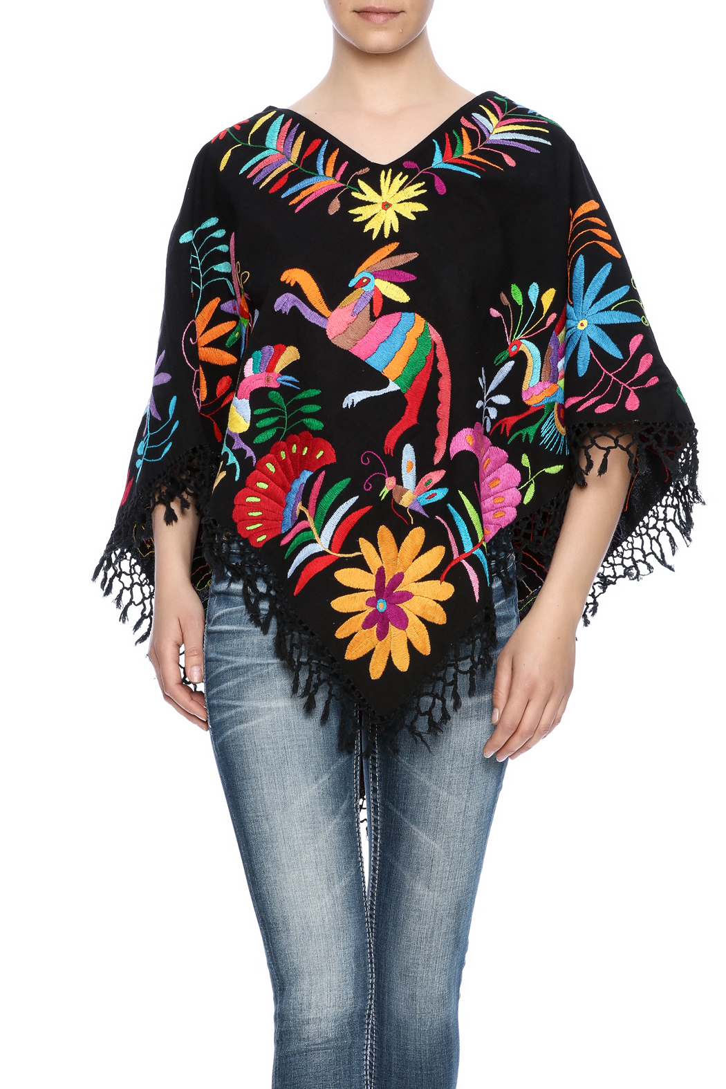 Nativa Mexican Embroidered Poncho - Front Cropped Image