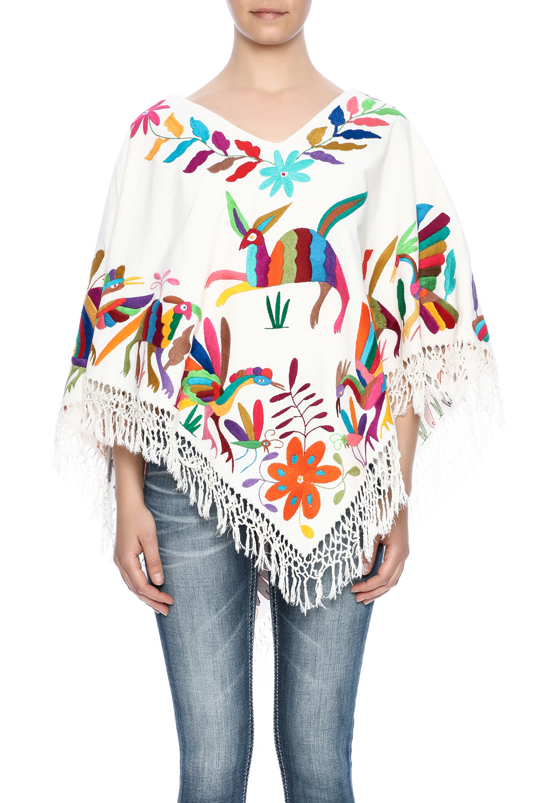 Nativa Mexican Embroidered Poncho - Side Cropped Image